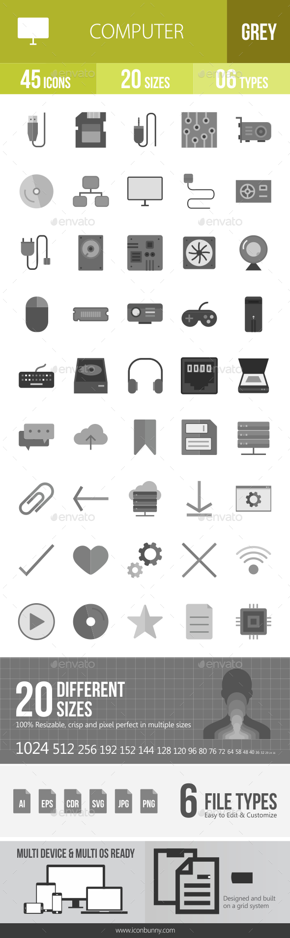 45 Computer & Hardware Grey Scale Icons - Icons