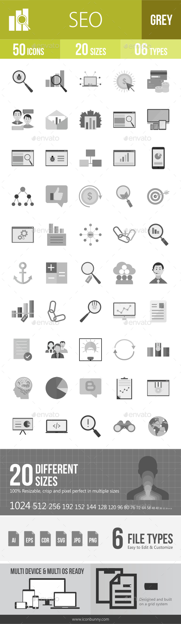 50 SEO Grey Scale Icons - Icons