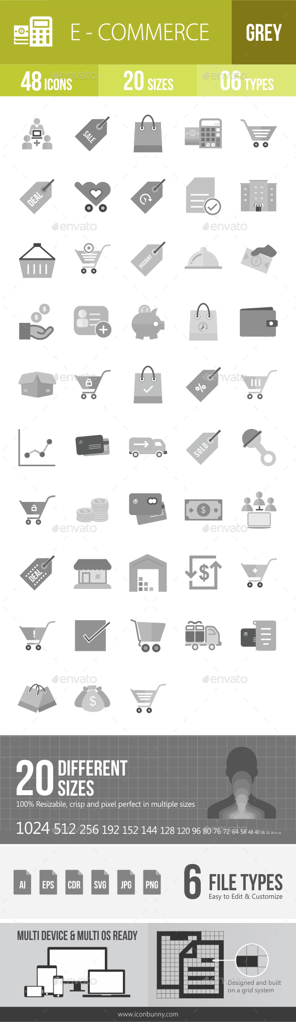 48 Ecommerce Grey Scale Icons - Icons