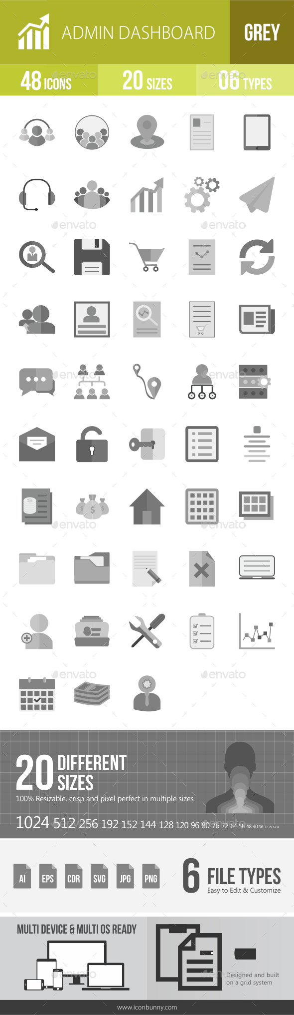 48 Admin Dashboard Grey Scale Icons - Icons