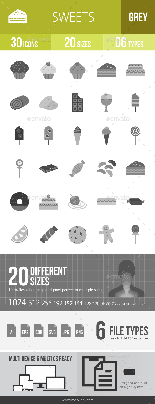 30 Sweets & Confectionery Grey Scale Icons - Icons