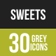 30 Sweets & Confectionery Grey Scale Icons - GraphicRiver Item for Sale