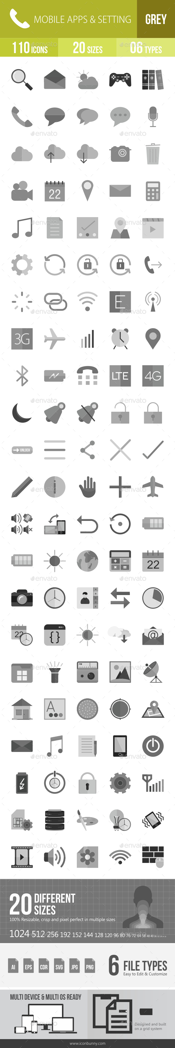 110 Mobile Apps Grey Scale Icons - Icons