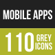 110 Mobile Apps Grey Scale Icons - GraphicRiver Item for Sale