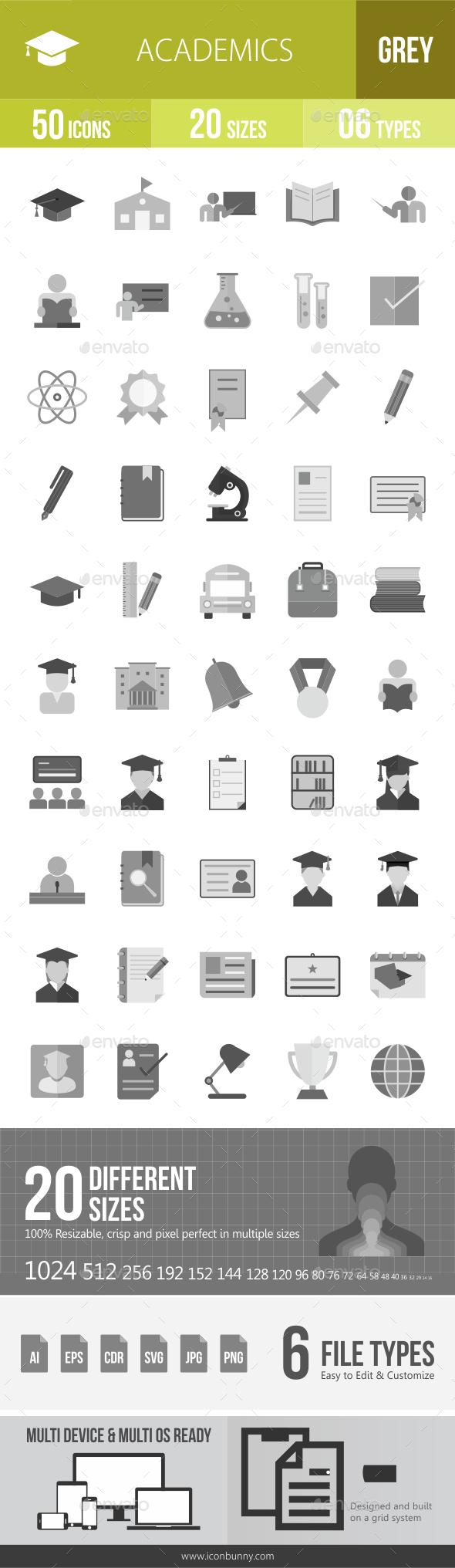 50 Academics Grey Scale Icons - Icons