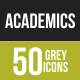 50 Academics Grey Scale Icons