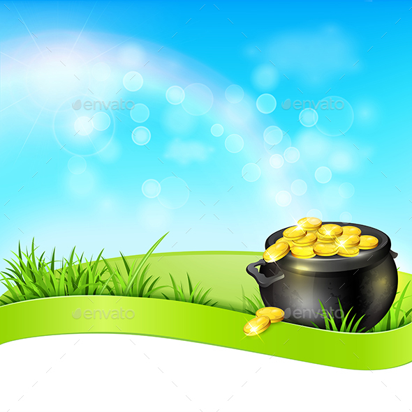 Pot of Gold on a Blue Sky Background - Miscellaneous Seasons/Holidays