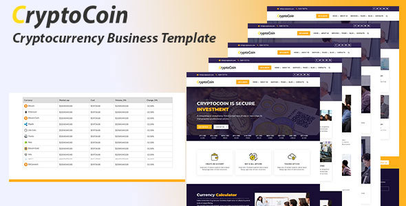 Cryptocoin - Bitcoin Crypto Currency Template - Business Corporate