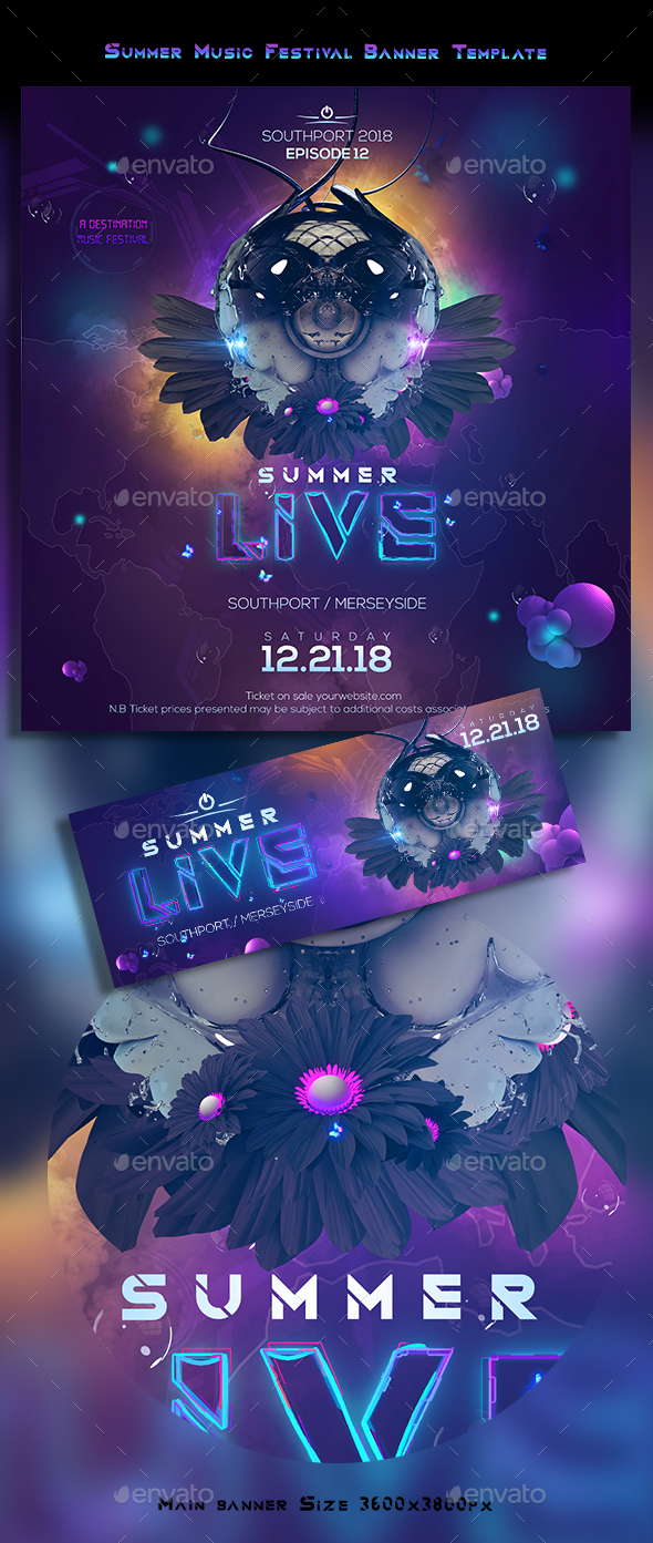 Summer Live EDM Banner - Banners & Ads Web Elements