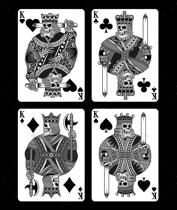 Set of Skull Playing Cards - Decorative Vectors