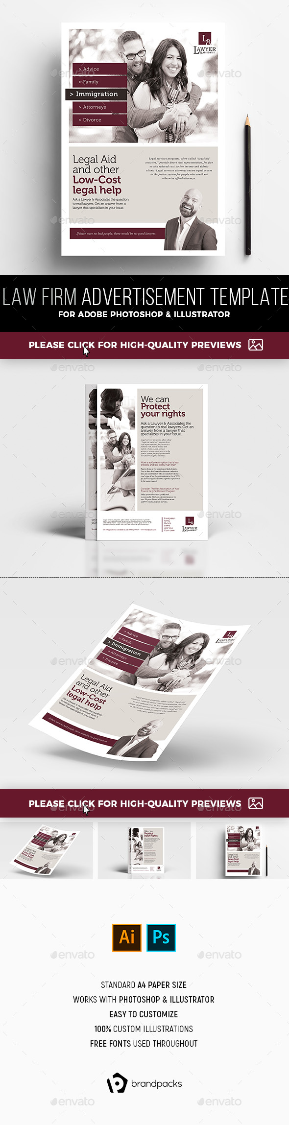 A4 Law Firm Advertisement Template - Corporate Flyers