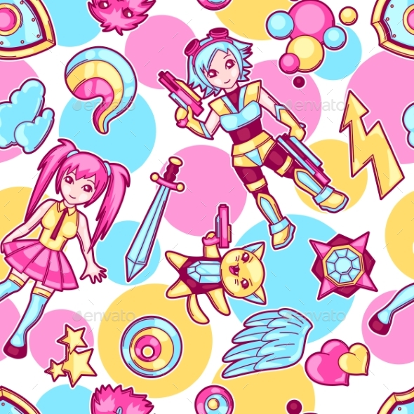 Japanese Anime Cosplay Seamless Pattern. - Patterns Decorative