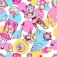 Japanese Anime Cosplay Seamless Pattern.