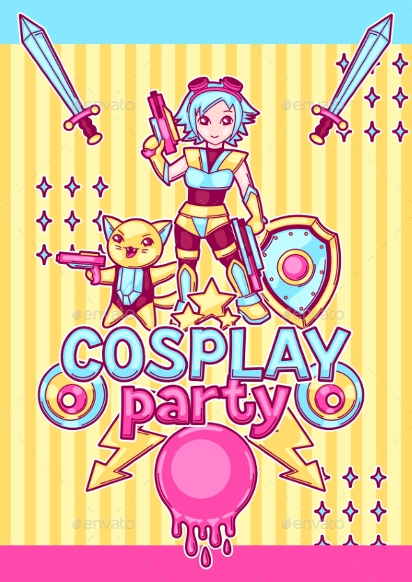 Japanese Anime Cosplay Party Invitation. - Miscellaneous Characters