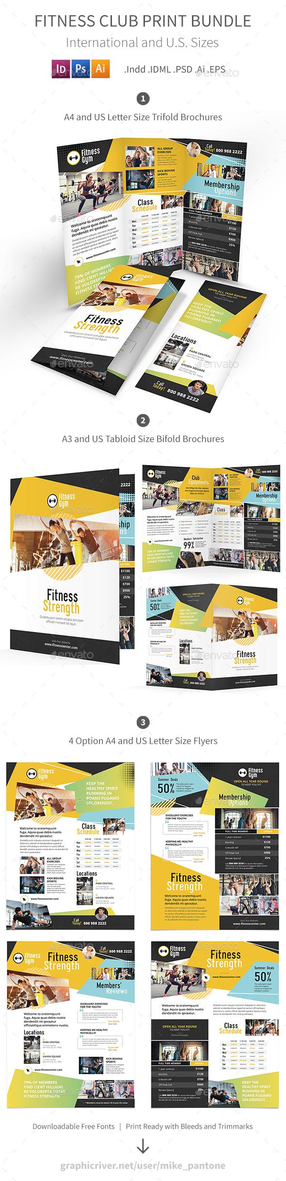 Fitness Club Print Bundle - Informational Brochures