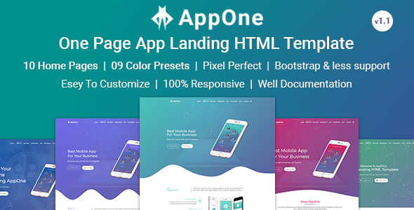 AppOne - App Landing HTML Template by rs-theme