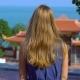 Young Woman Watching a Panoramic View of a Budhist Temple on Phu Quoc Island - VideoHive Item for Sale