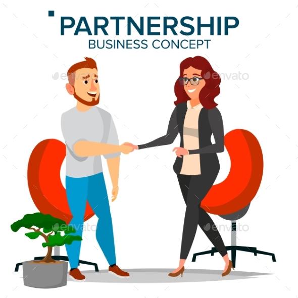 Business Partnership Concept Vector. Business Man - Business Conceptual