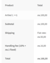 Order details with handling fee.  thumbnail