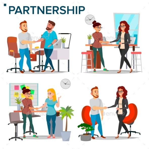 Business Partnership Set Vector. - Business Conceptual