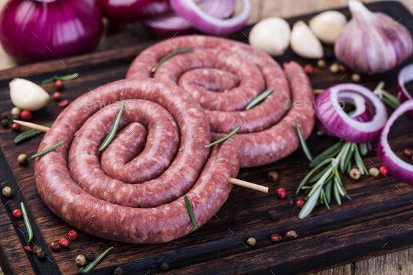 raw pork sausage - Stock Photo - Images
