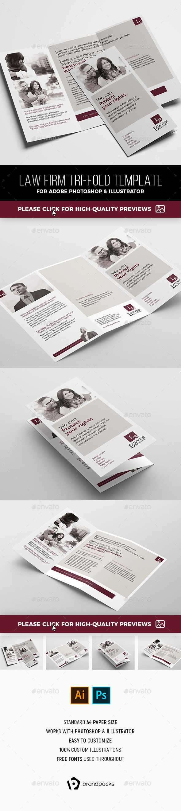 Law Firm Tri Fold Brochure Template By Brandpacks Graphicriver