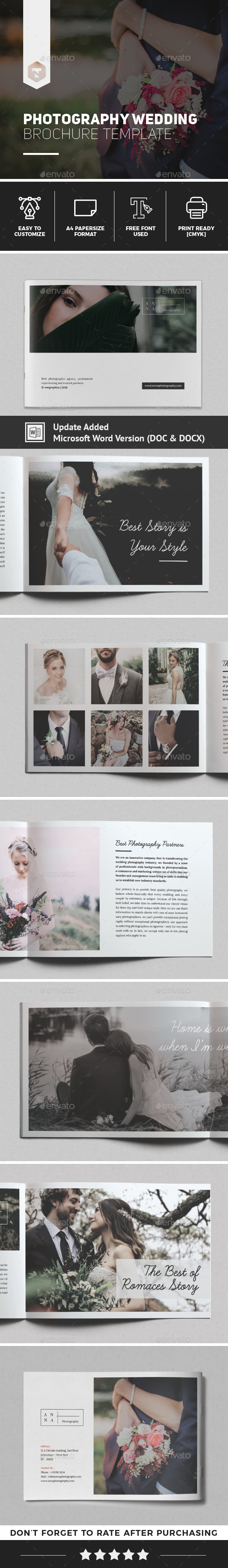 Anna Wedding Photography Brochure Template - Brochures Print Templates