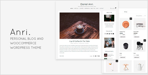 Anri   - Personal Blog and WooCommerce WordPress Theme