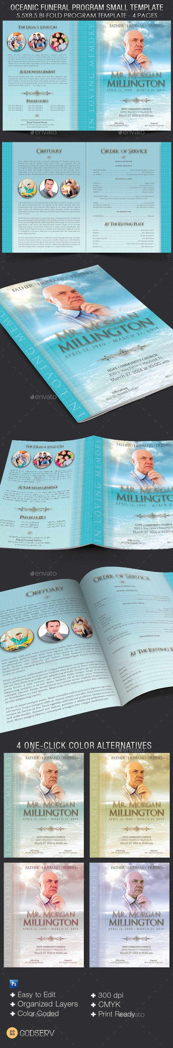Oceanic Funeral Program Small Template – 4 Pages - Informational Brochures