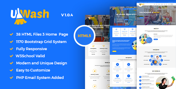Uwash - Cleaning Service Company HTML5 Template