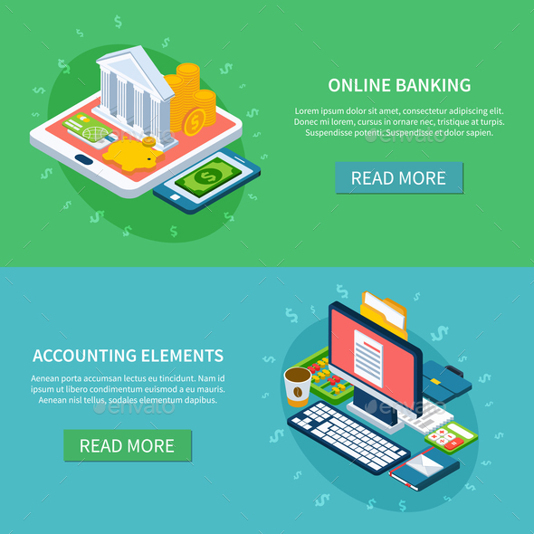 Banking Online Banners Set - Concepts Business