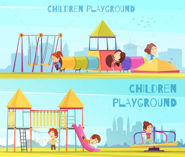 Playground Horizontal Banners Set - Sports/Activity Conceptual