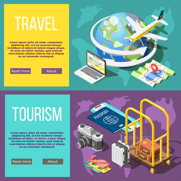 Travel and Tourism Horizontal Banners - Travel Conceptual