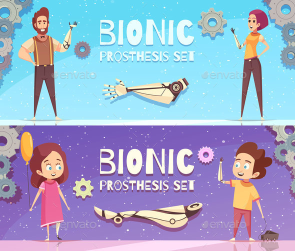 Bionic Prosthesis Banners Set - Sports/Activity Conceptual