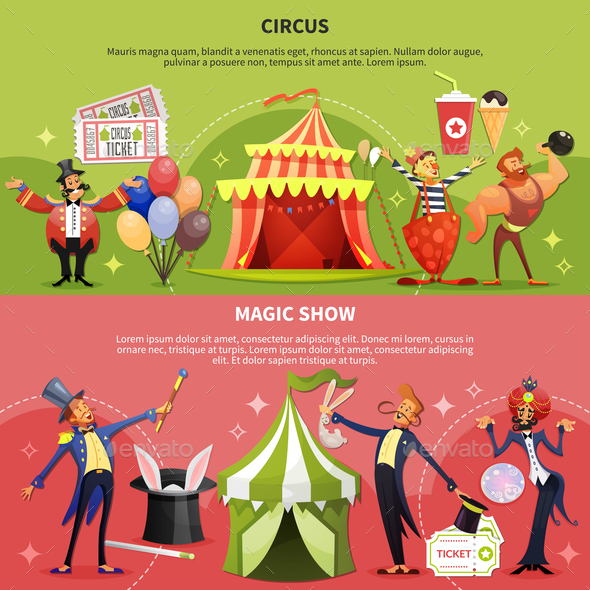 Two Circus Cartoon Banner Set - Industries Business