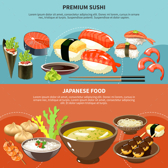 Sushi Colored Banner Set - Food Objects