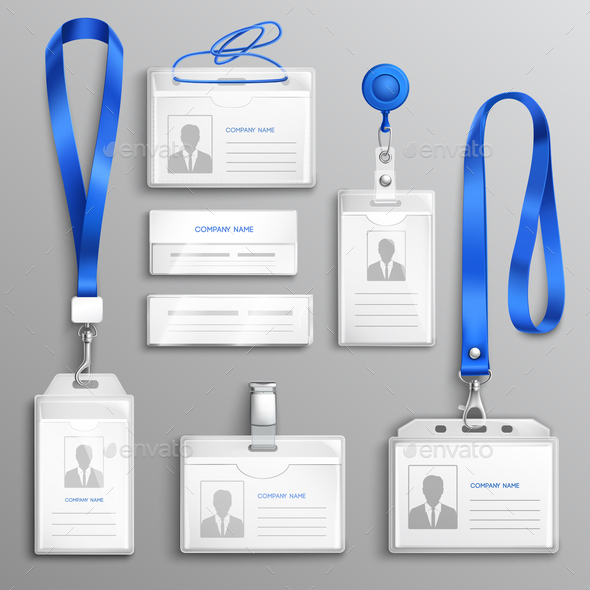 ID Card Holders Realistic Set - Man-made Objects Objects