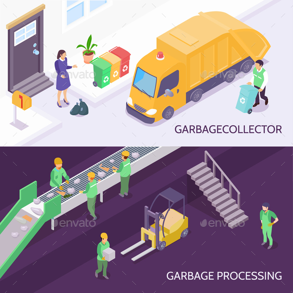 Garbage Recycling Isometric Banners - Industries Business