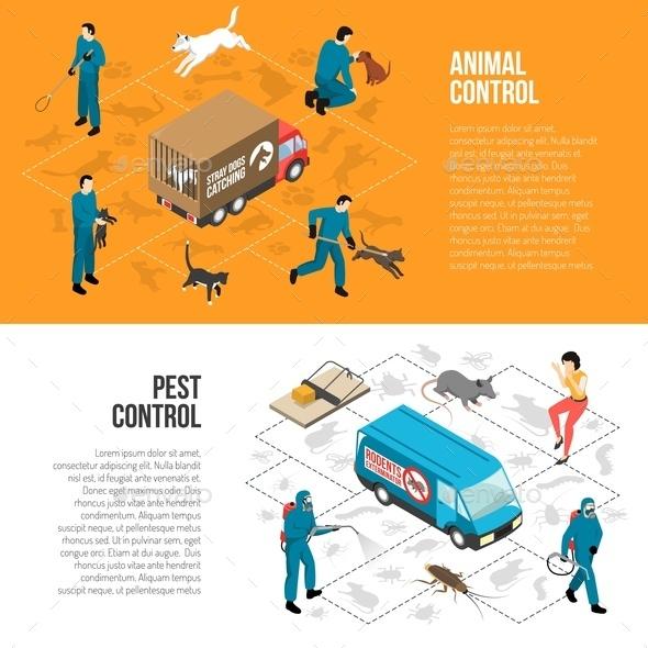 Animal Control Isometric Horizontal Banners - Animals Characters