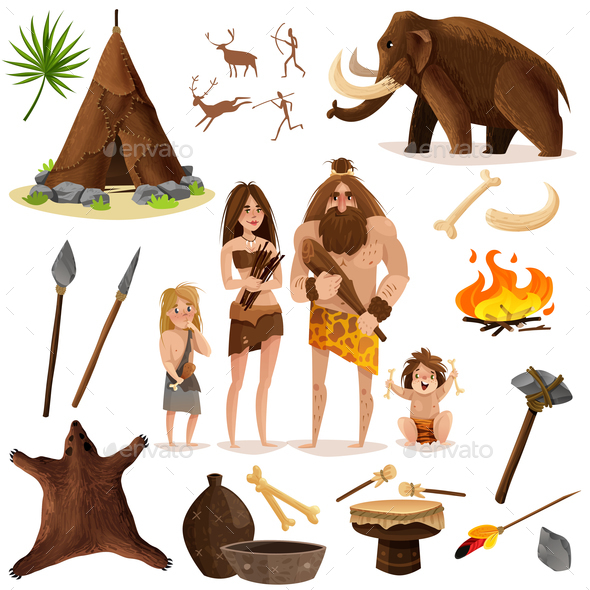 Cavemen Decorative Icons Set - Animals Characters