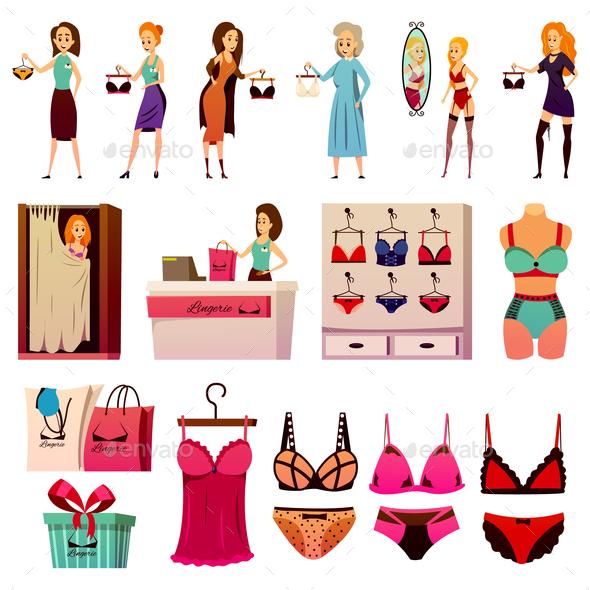 BVD Lingerie Store Set - Miscellaneous Vectors