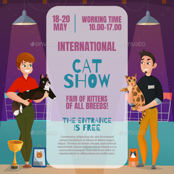 Cat Show Announcement Poster - Animals Characters