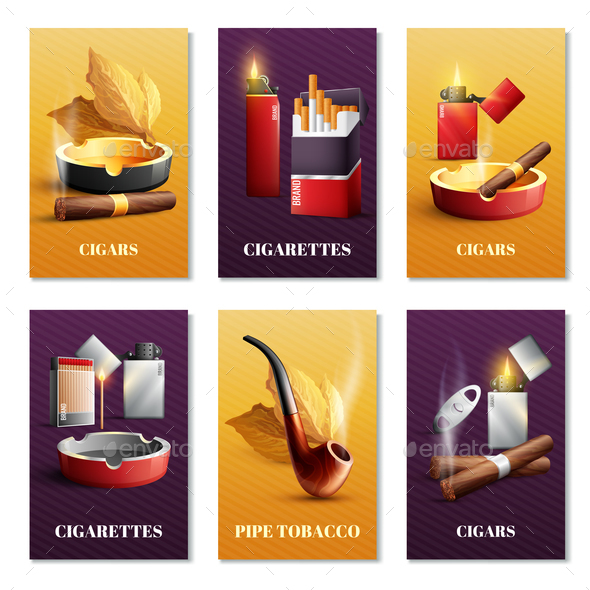 Tobacco Products Cards Set - Miscellaneous Vectors