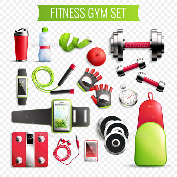 Fitness Gym Transparent Set - Sports/Activity Conceptual