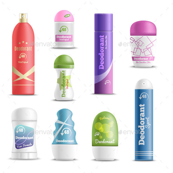 Deodorants Spray Sticks Realistic Set - Miscellaneous Vectors