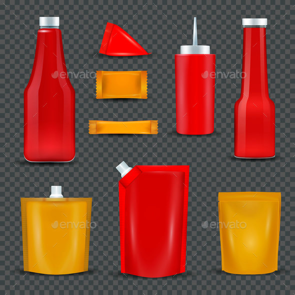 Sauce Bottles Packages Transparent Background - Food Objects