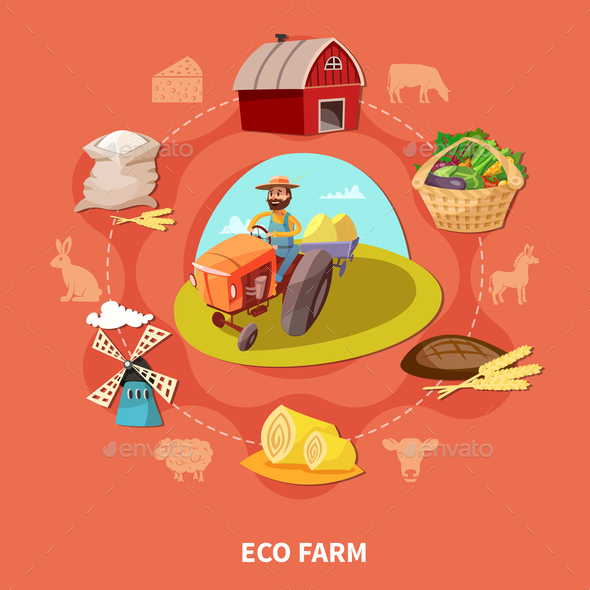 Farm Cartoon Colored Composition - Food Objects