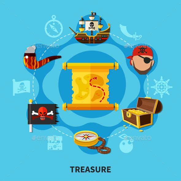 Pirate Treasure Round Composition - Backgrounds Decorative