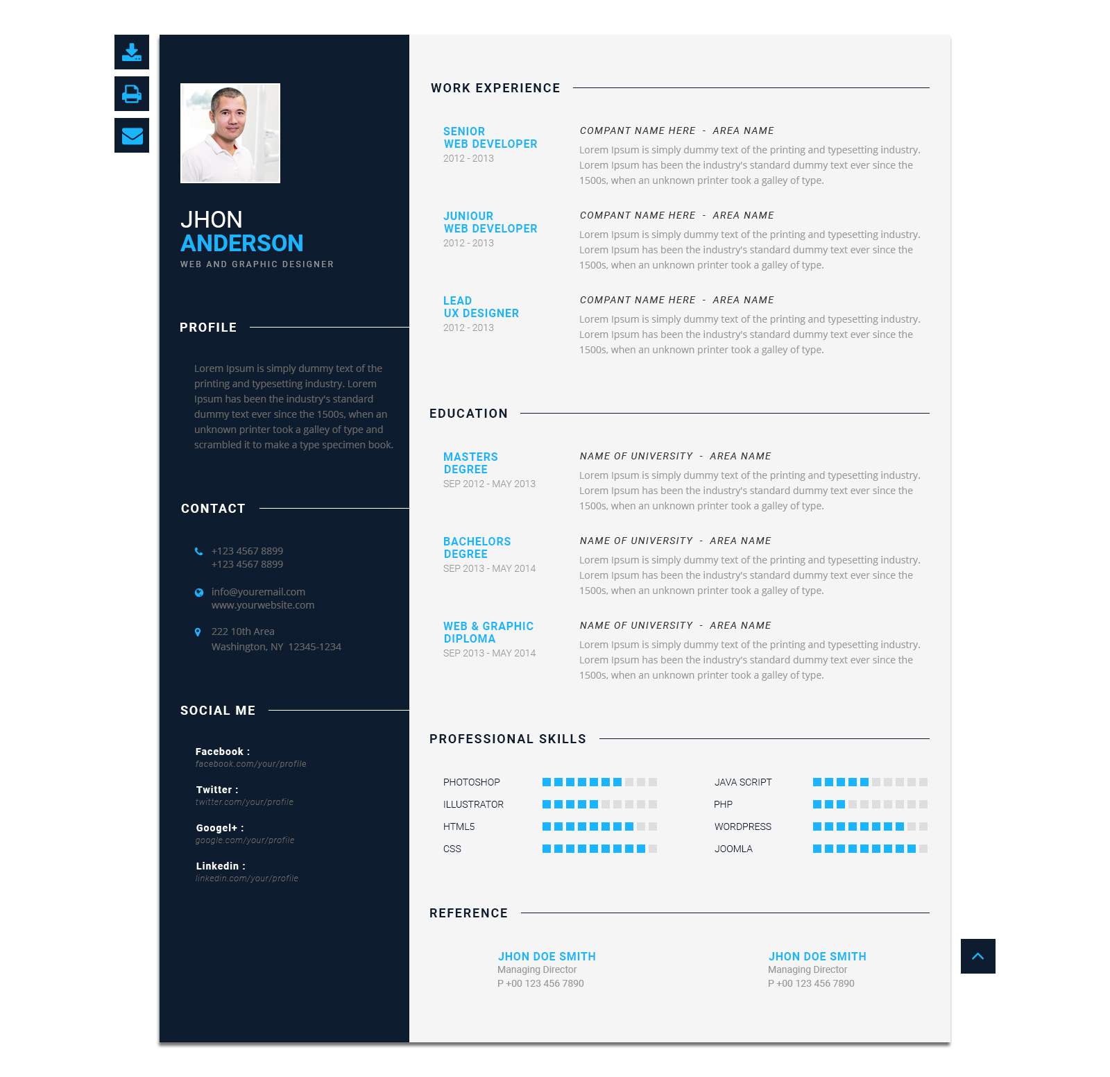 modern cv personal resume template by blendthemes themeforest