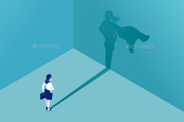 Businesswoman Superhero Shadow - People Characters